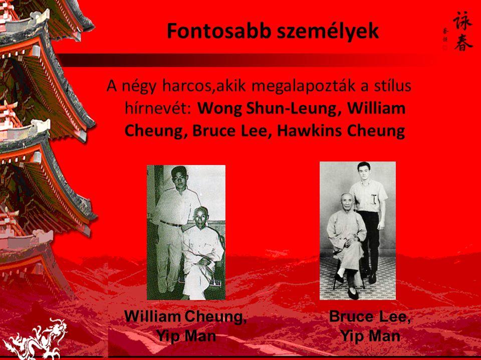 Fontosabb személyek A négy harcos,akik megalapozták a stílus hírnevét: Wong Shun-Leung, William Cheung, Bruce Lee, Hawkins Cheung.