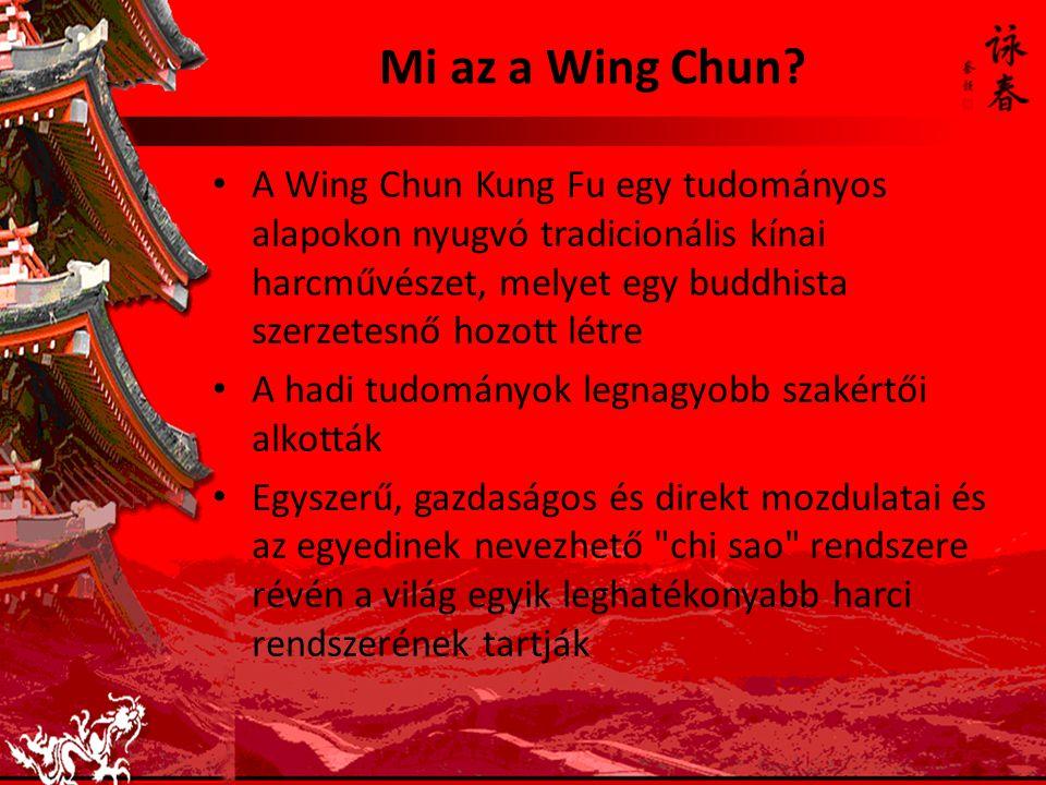 Mi az a Wing Chun A Wing Chun Kung Fu egy tudományos alapokon nyugvó tradicionális kínai harcművészet, melyet egy buddhista szerzetesnő hozott létre.