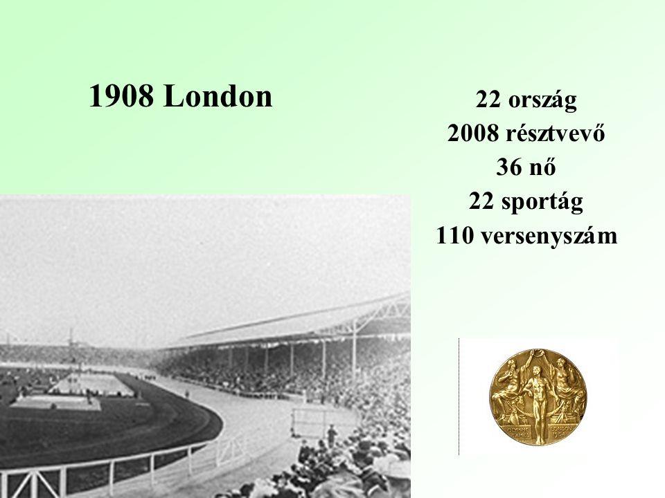 1908 London 22 ország 2008 résztvevő 36 nő 22 sportág 110 versenyszám