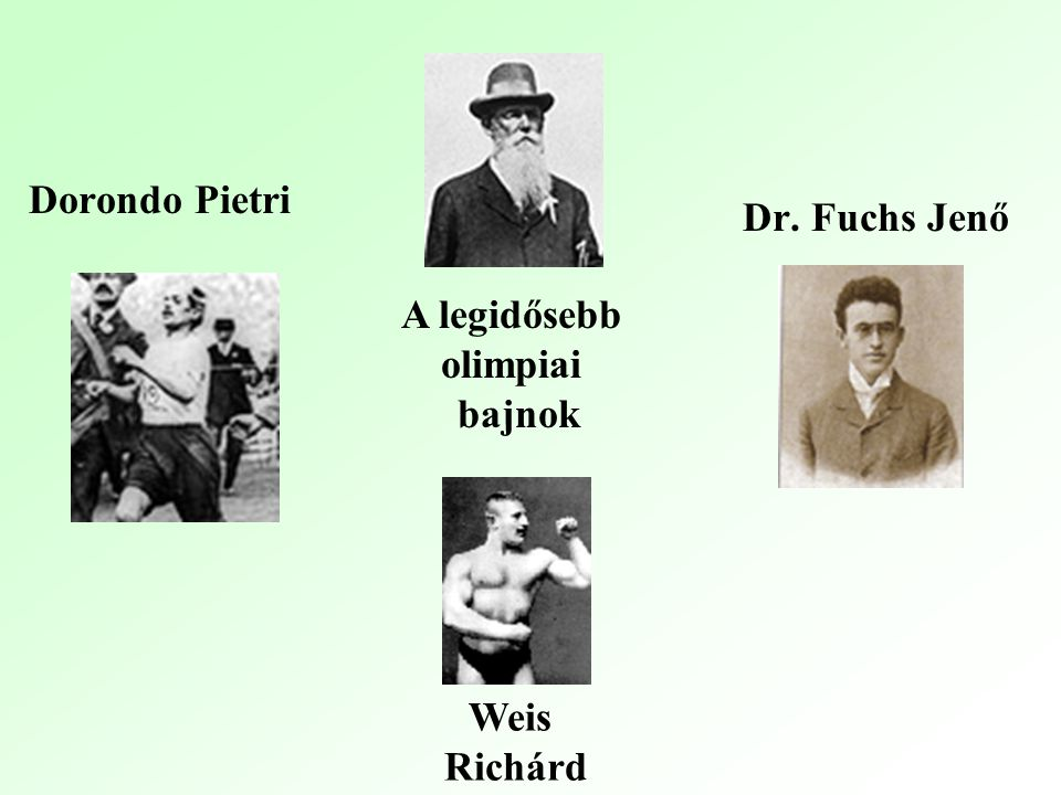 Dorondo Pietri Dr. Fuchs Jenő A legidősebb olimpiai bajnok Weis Richárd