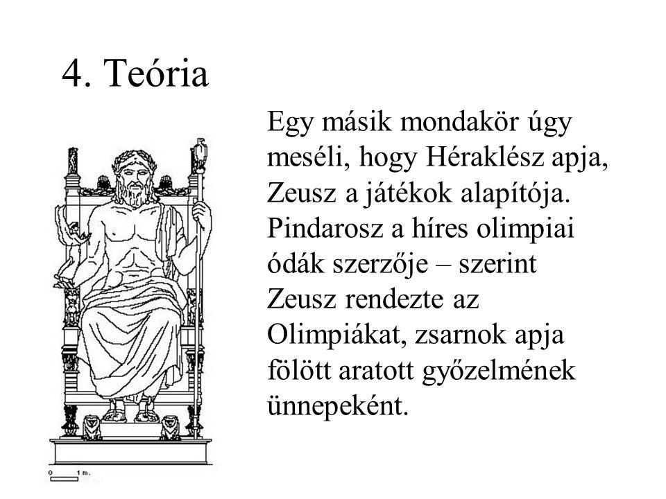 4. Teória Egy másik mondakör úgy meséli, hogy Héraklész apja, Zeusz a játékok alapítója.