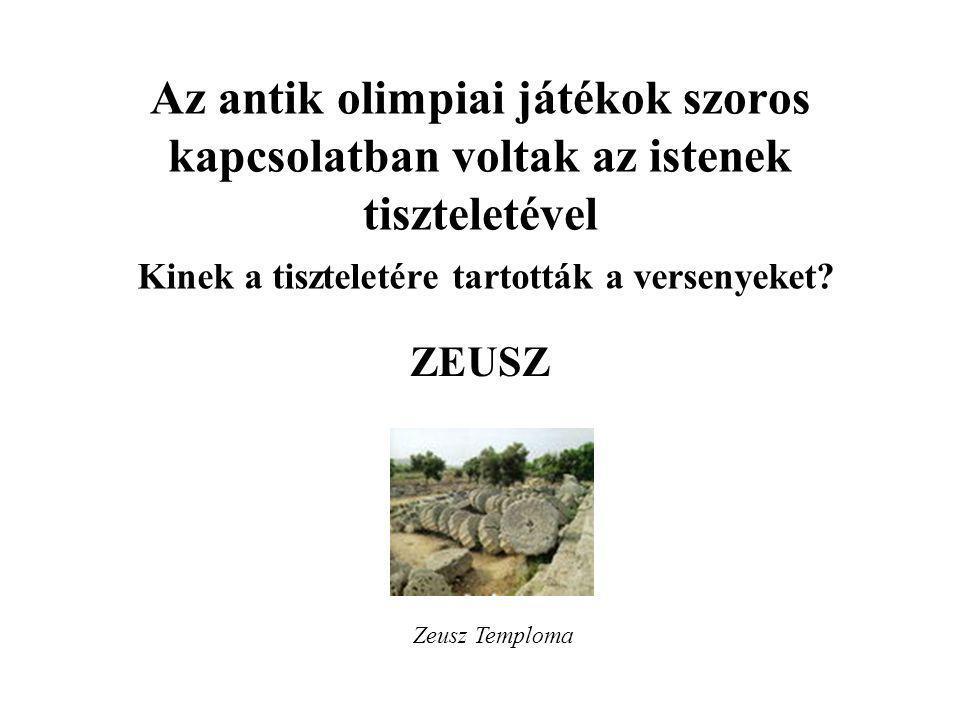Az antik olimpiai játékok szoros kapcsolatban voltak az istenek tiszteletével