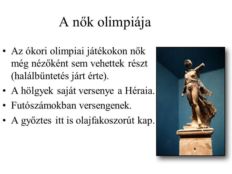 A nők olimpiája Az ókori olimpiai játékokon nők még nézőként sem vehettek részt (halálbüntetés járt érte).