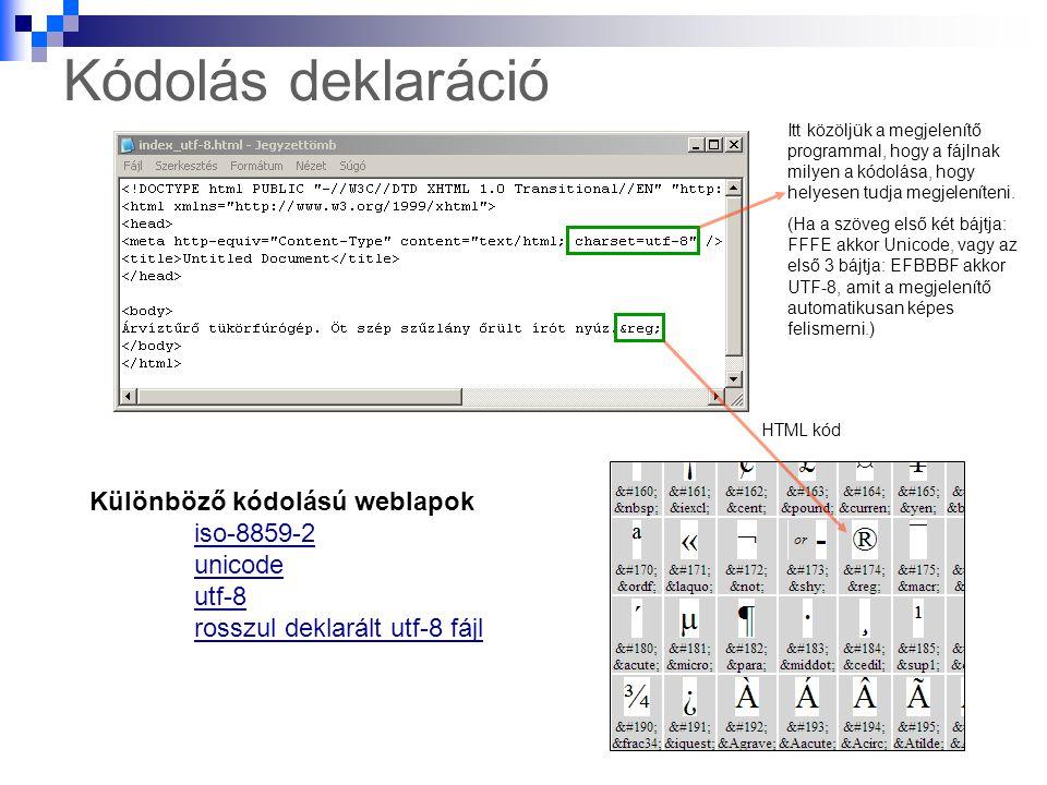 Kódolás deklaráció Különböző kódolású weblapok iso-8859-2 unicode