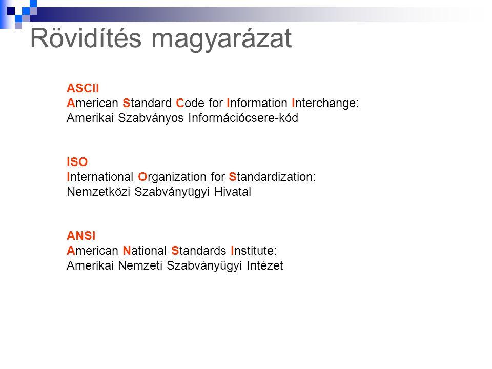 Rövidítés magyarázat ASCII American Standard Code for Information Interchange: Amerikai Szabványos Információcsere-kód.