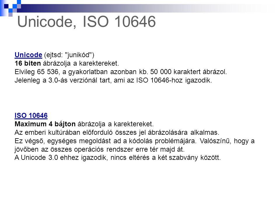 Unicode, ISO 10646 Unicode (ejtsd: junikód )