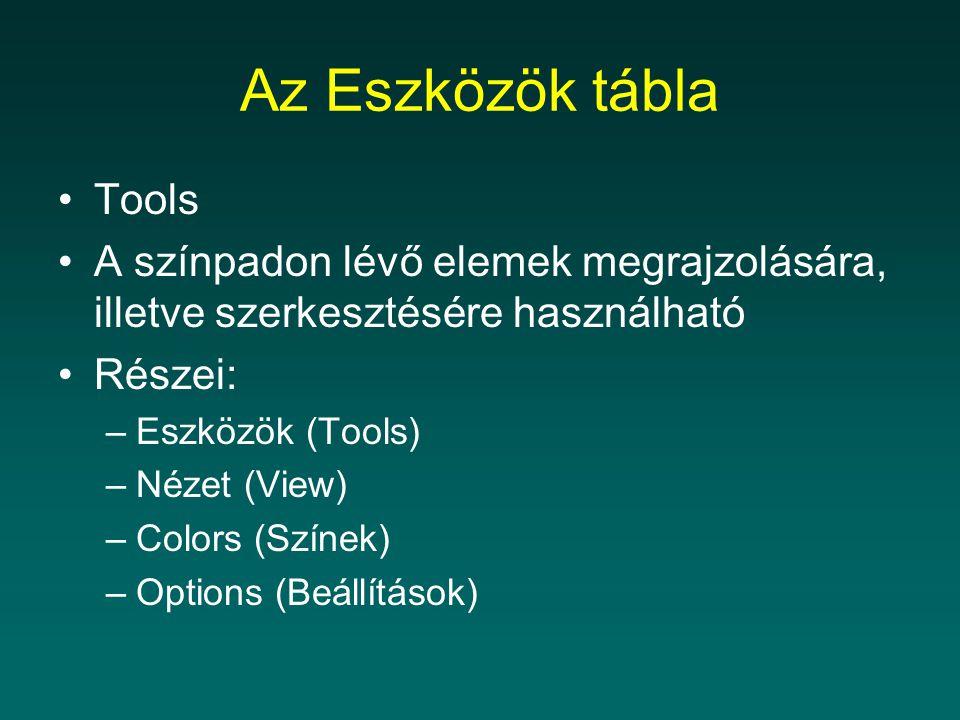 Az Eszközök tábla Tools