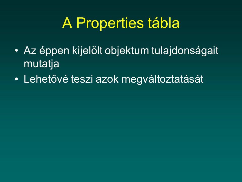 A Properties tábla Az éppen kijelölt objektum tulajdonságait mutatja