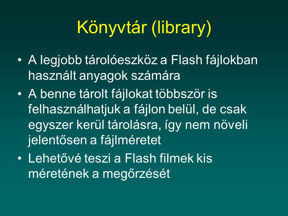 Könyvtár (library) A legjobb tárolóeszköz a Flash fájlokban használt anyagok számára.