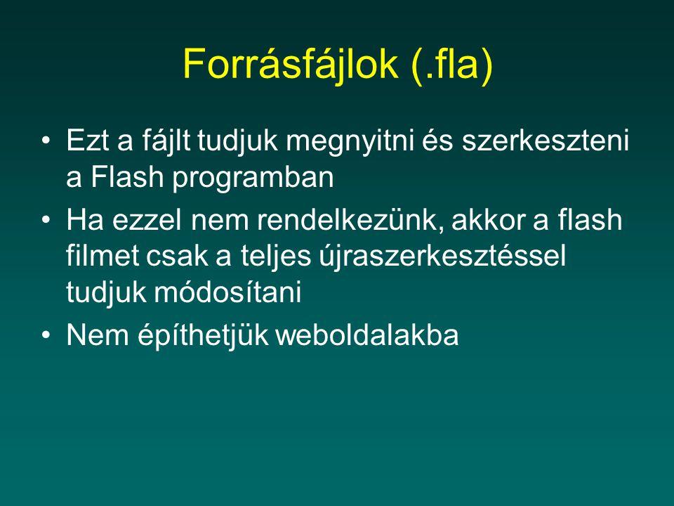 Forrásfájlok (.fla) Ezt a fájlt tudjuk megnyitni és szerkeszteni a Flash programban.