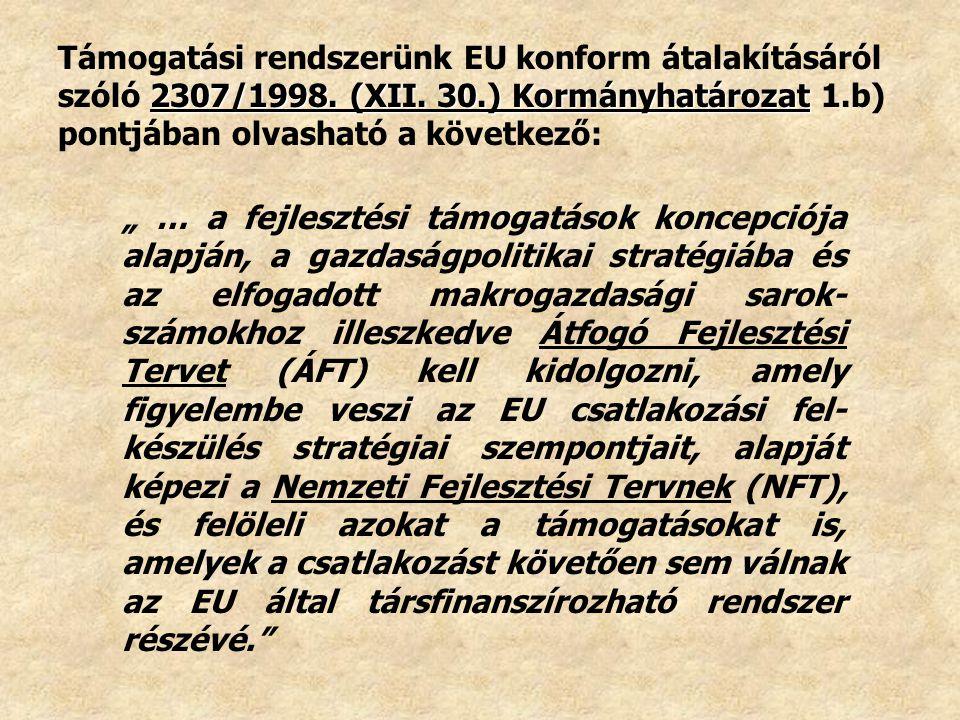 Támogatási rendszerünk EU konform átalakításáról szóló 2307/1998. (XII