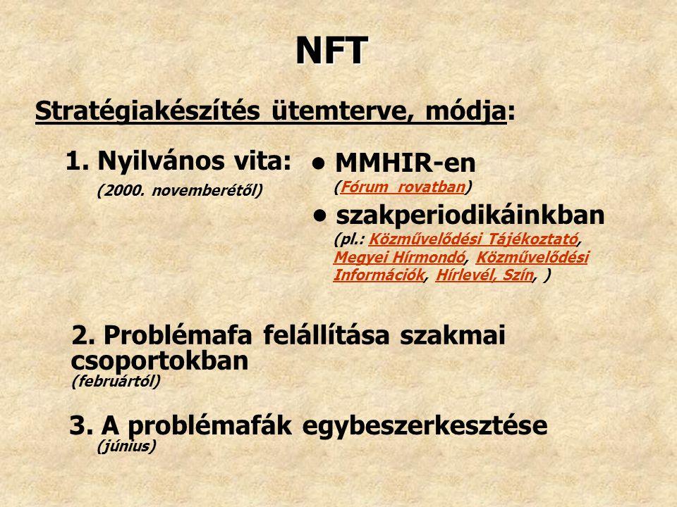 NFT Stratégiakészítés ütemterve, módja: • MMHIR-en 1. Nyilvános vita: