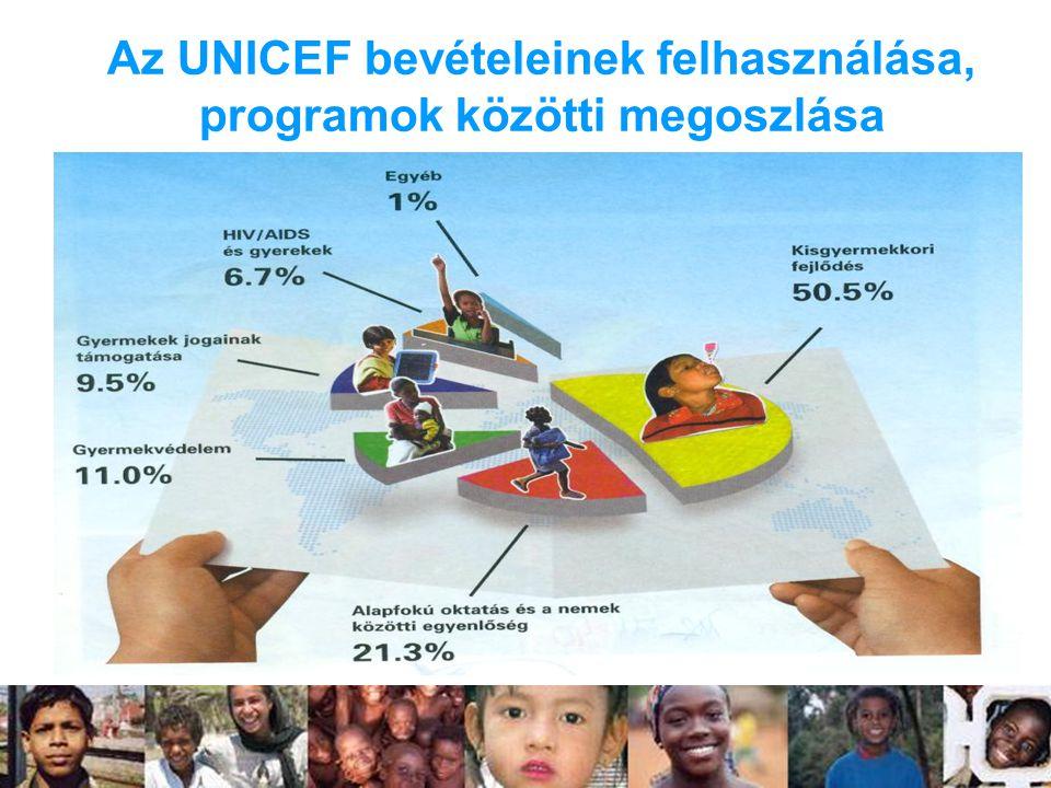 Az UNICEF bevételeinek felhasználása, programok közötti megoszlása