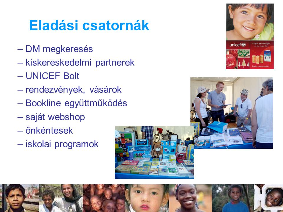 Eladási csatornák DM megkeresés kiskereskedelmi partnerek UNICEF Bolt