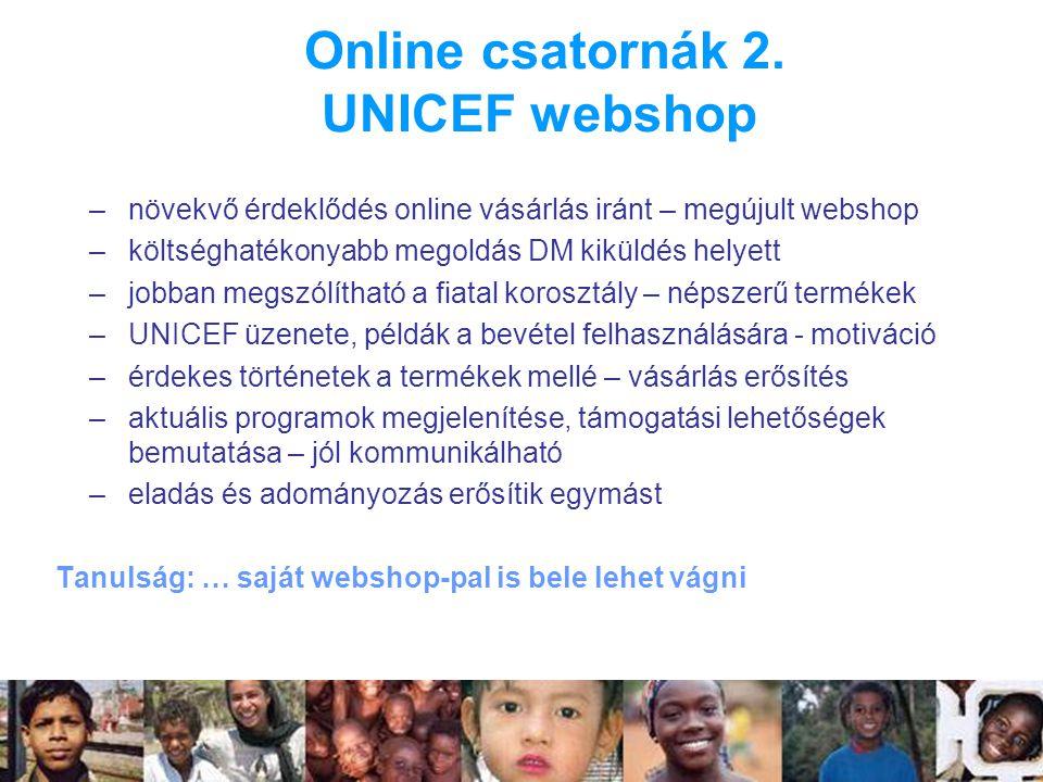 Online csatornák 2. UNICEF webshop