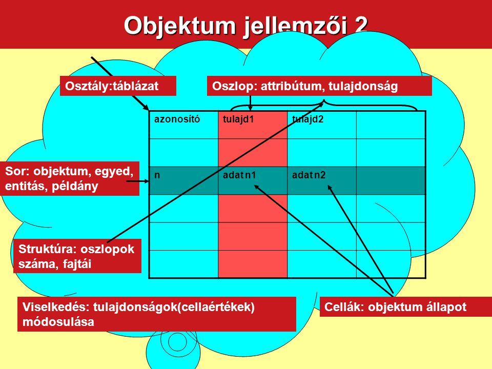 Objektum jellemzői 2 Osztály:táblázat Oszlop: attribútum, tulajdonság