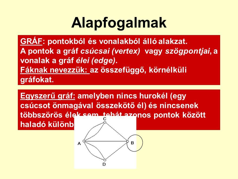 Alapfogalmak GRÁF: pontokból és vonalakból álló alakzat.