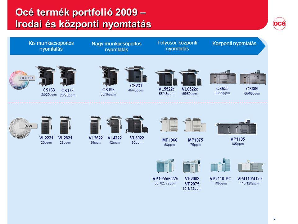 Océ termék portfolió 2009 – Irodai és központi nyomtatás
