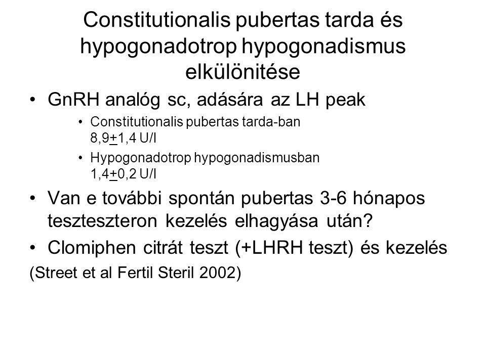 Constitutionalis pubertas tarda és hypogonadotrop hypogonadismus elkülönitése