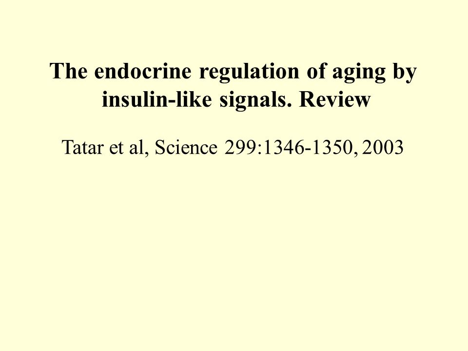 The endocrine regulation of aging by insulin-like signals. Review