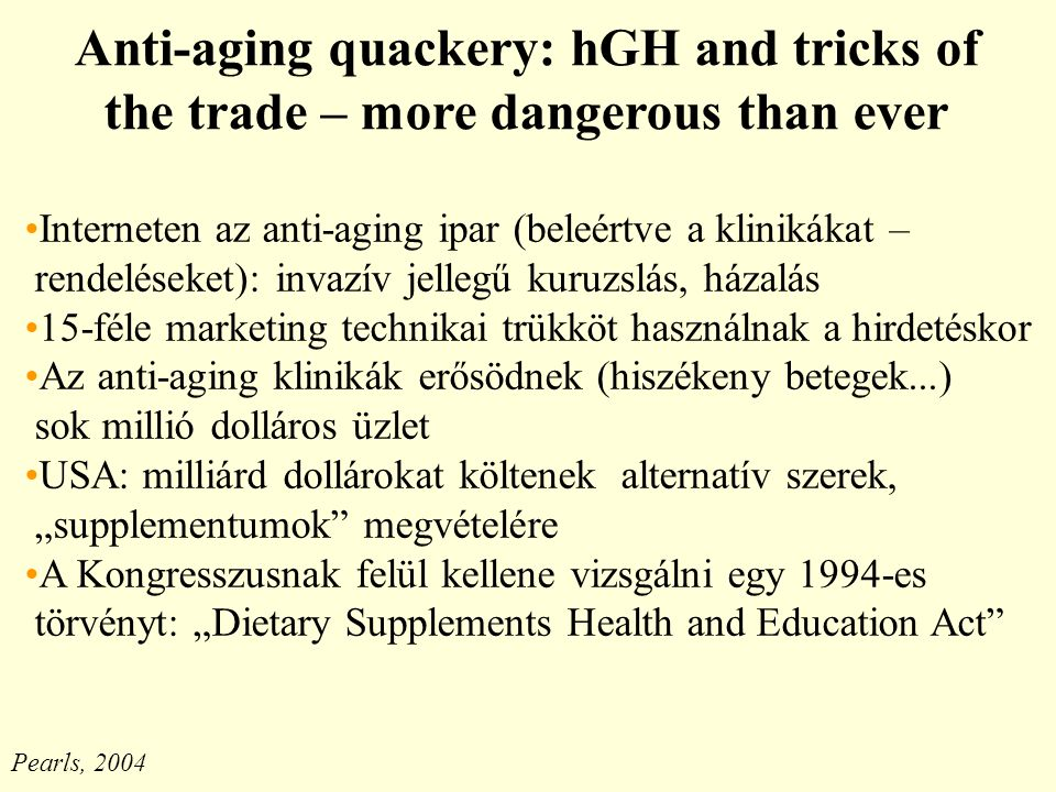 Anti-aging quackery: hGH and tricks of