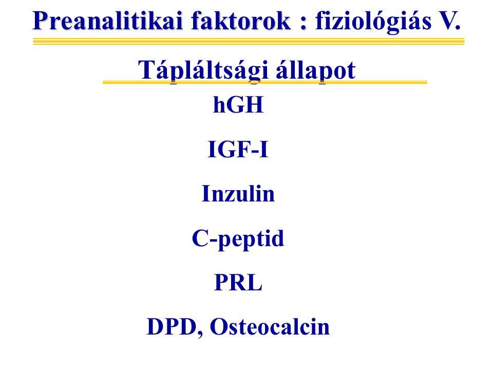 Preanalitikai faktorok : fiziológiás V.