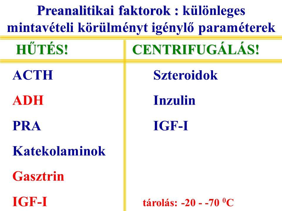 Preanalitikai faktorok : különleges mintavételi körülményt igénylő paraméterek