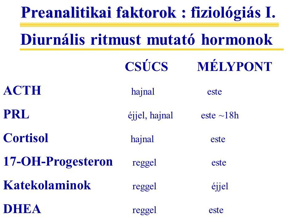 Preanalitikai faktorok : fiziológiás I.