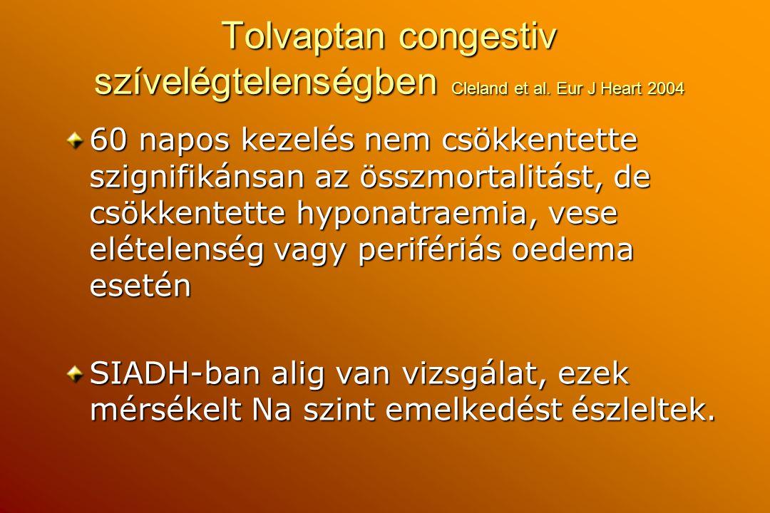 Tolvaptan congestiv szívelégtelenségben Cleland et al. Eur J Heart 2004