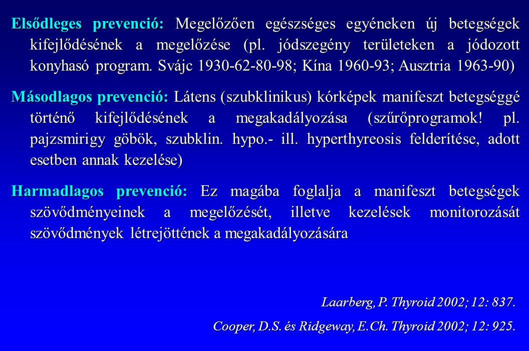 Elsődleges prevenció: Megelőzően egészséges egyéneken új betegségek kifejlődésének a megelőzése (pl. jódszegény területeken a jódozott konyhasó program. Svájc 1930-62-80-98; Kína 1960-93; Ausztria 1963-90)