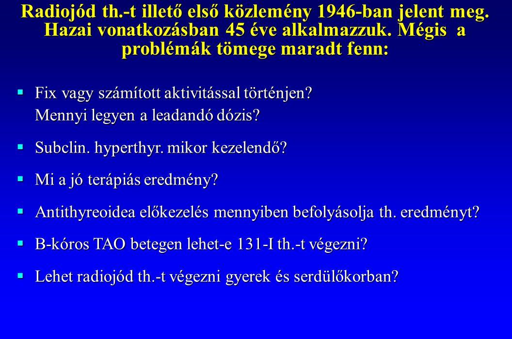 Radiojód th. -t illető első közlemény 1946-ban jelent meg