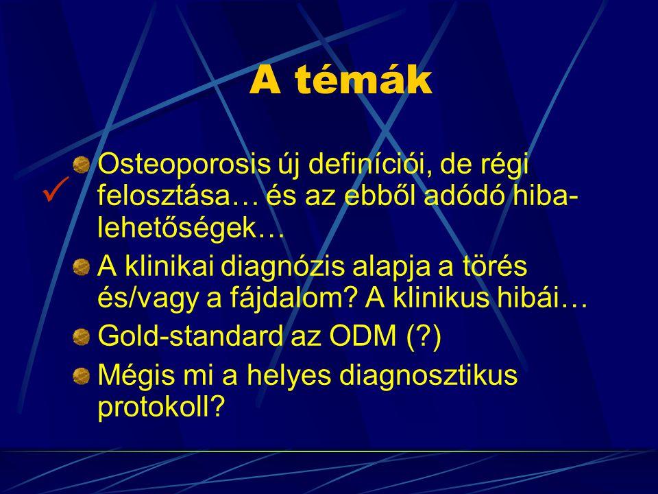 A témák Osteoporosis új definíciói, de régi felosztása… és az ebből adódó hiba- lehetőségek…