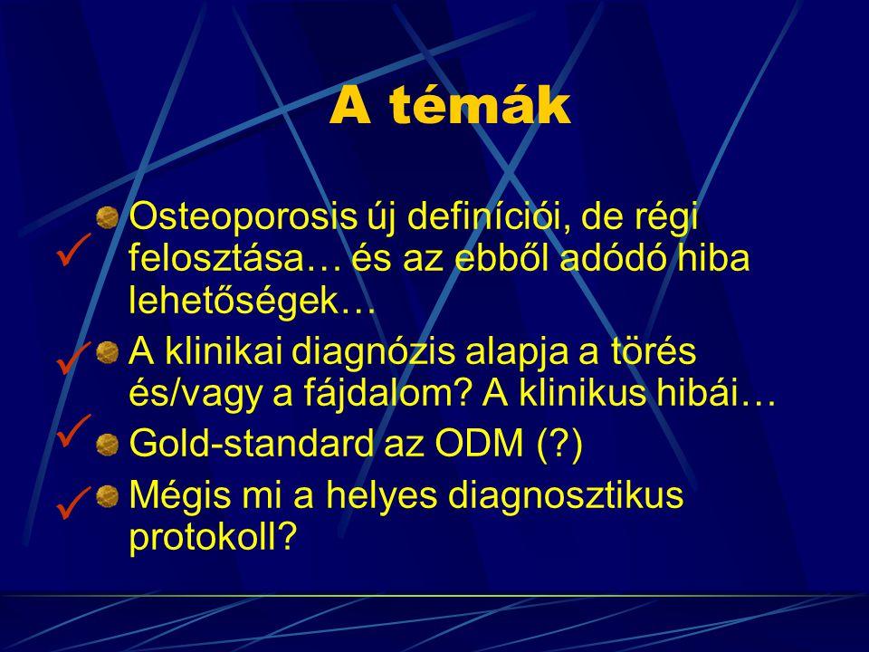 A témák Osteoporosis új definíciói, de régi felosztása… és az ebből adódó hiba lehetőségek…