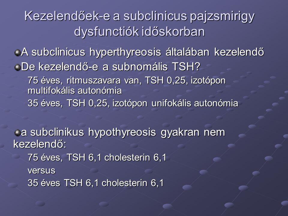 Kezelendőek-e a subclinicus pajzsmirigy dysfunctiók időskorban