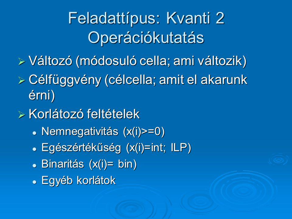 Feladattípus: Kvanti 2 Operációkutatás