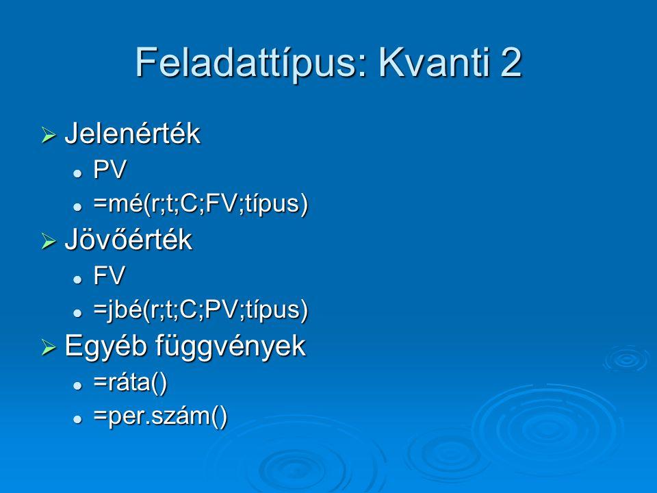 Feladattípus: Kvanti 2 Jelenérték Jövőérték Egyéb függvények PV