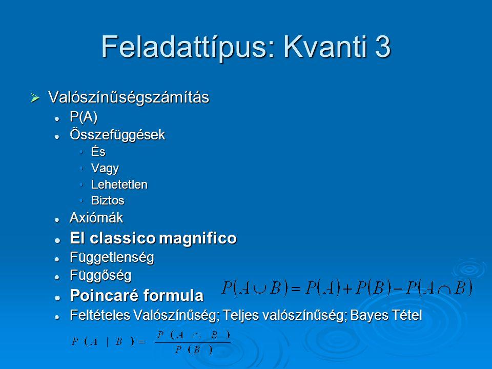 Feladattípus: Kvanti 3 Valószínűségszámítás El classico magnifico