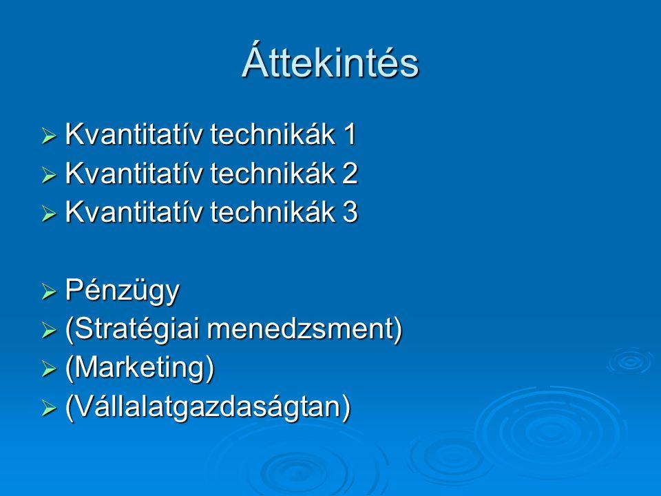 Áttekintés Kvantitatív technikák 1 Kvantitatív technikák 2