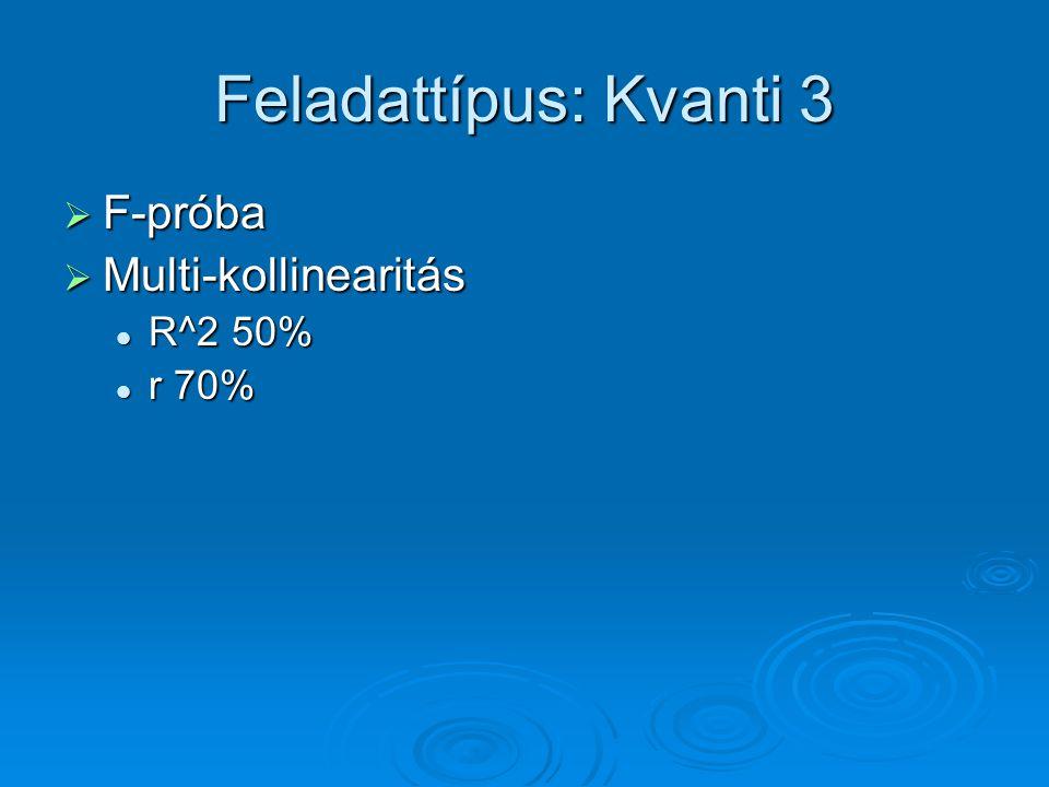 Feladattípus: Kvanti 3 F-próba Multi-kollinearitás R^2 50% r 70%