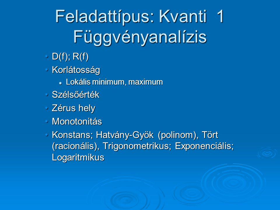 Feladattípus: Kvanti 1 Függvényanalízis