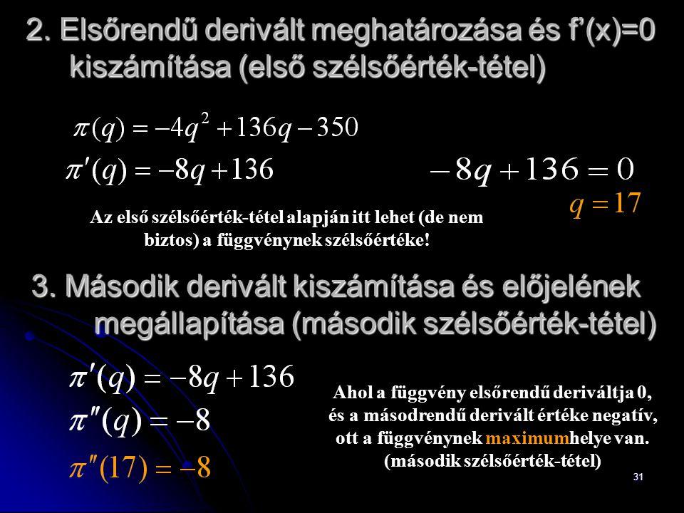 2. Elsőrendű derivált meghatározása és f'(x)=0 kiszámítása (első szélsőérték-tétel)