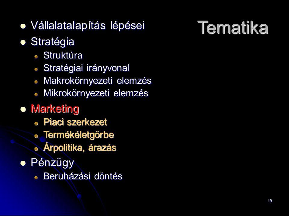 Tematika Vállalatalapítás lépései Stratégia Marketing Pénzügy