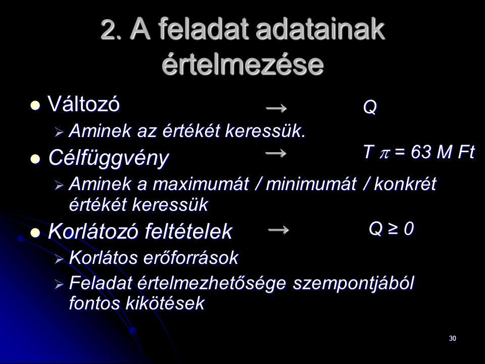 2. A feladat adatainak értelmezése