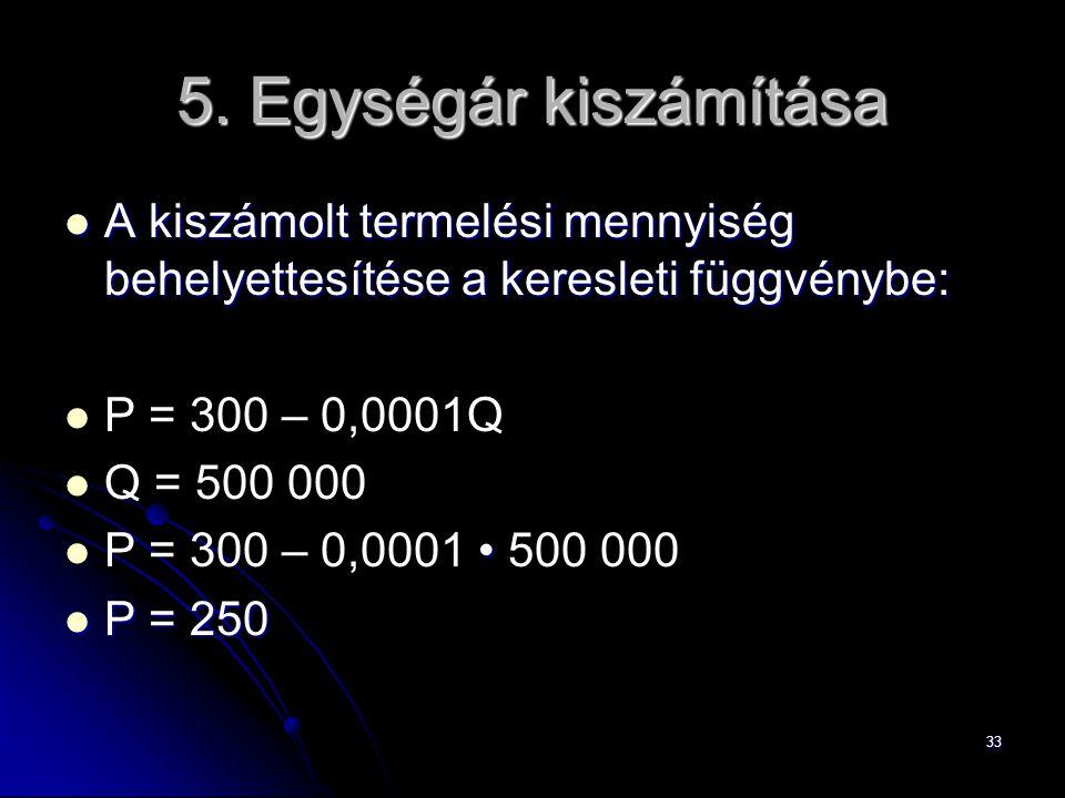 5. Egységár kiszámítása A kiszámolt termelési mennyiség behelyettesítése a keresleti függvénybe: P = 300 – 0,0001Q.