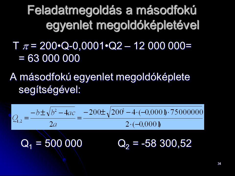 Feladatmegoldás a másodfokú egyenlet megoldóképletével