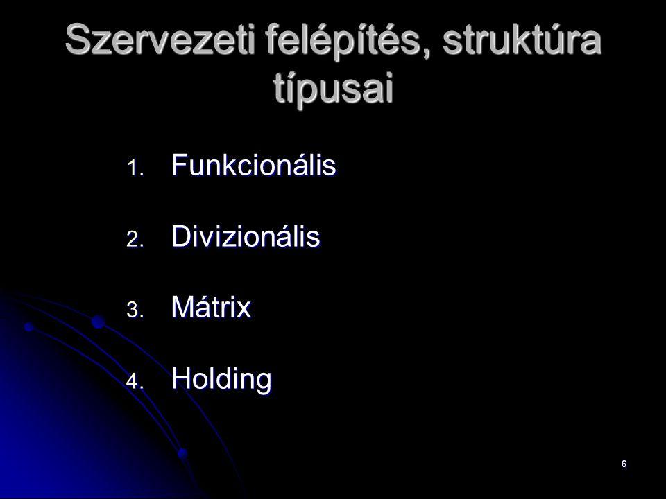 Szervezeti felépítés, struktúra típusai