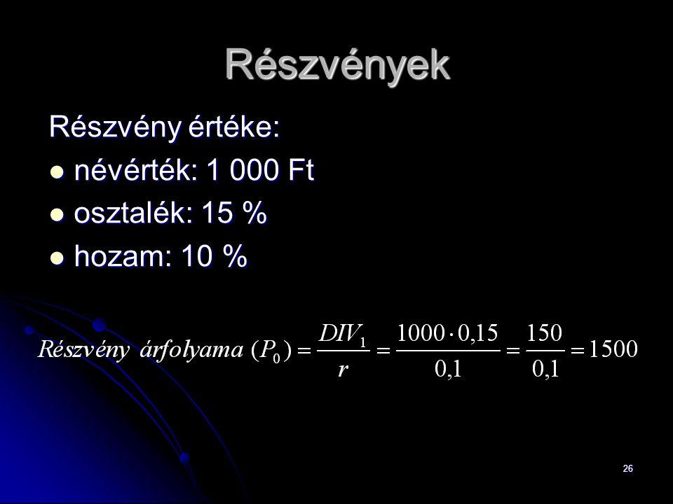 Részvények Részvény értéke: névérték: 1 000 Ft osztalék: 15 %