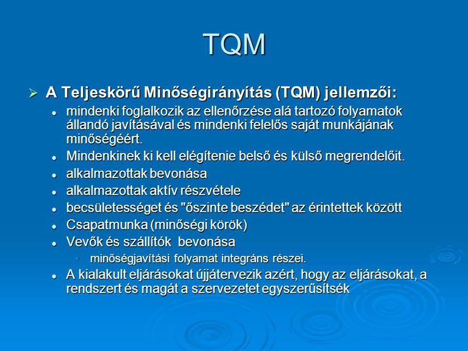 TQM A Teljeskörű Minőségirányítás (TQM) jellemzői: