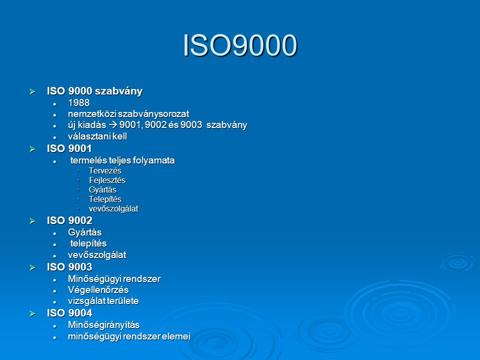 ISO9000 ISO 9000 szabvány ISO 9001 ISO 9002 ISO 9003 ISO 9004 1988