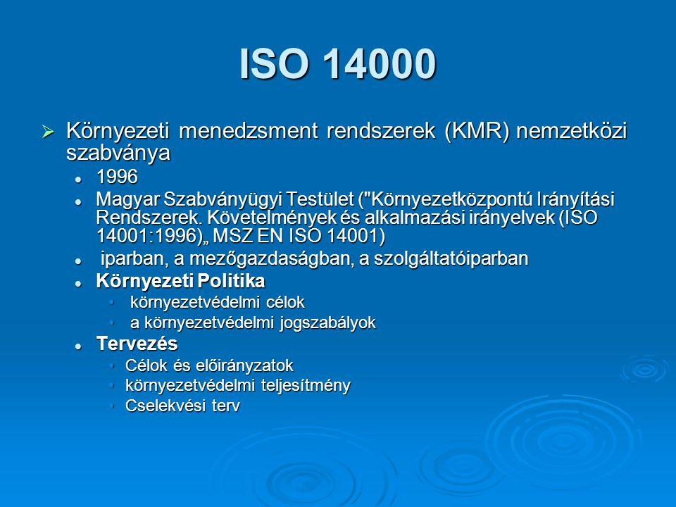 ISO 14000 Környezeti menedzsment rendszerek (KMR) nemzetközi szabványa